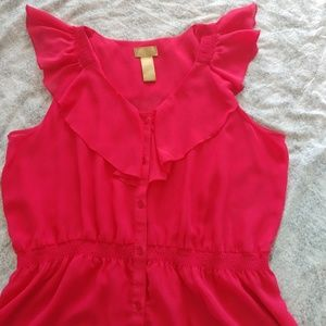 Miss Tina raspberry ruffle blouse size XL